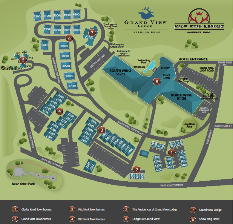 Snow King Grand View Lodge Map